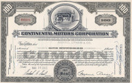 Continental Motors Corporation stock certificate 1961