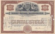Durant Motors Incorporated stock certificate