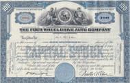 Four Wheel Drive Auto Company stock certificate 1950's - blue