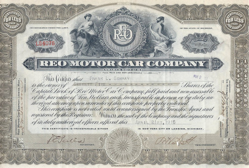 REO Motor Car Company stock certificate - olive