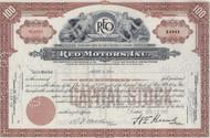 REO Motors 1945 stock certificate - brown