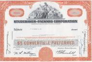 Studebaker-Packard 1960's stock certificate - orange