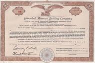 Hannibal Missouri Bottling Company stock certificate