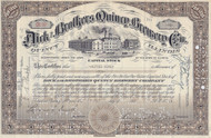 Dick and Brothers Quincy Brewery stock certificate