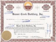 Beaver Creek Distillery stock certificate 1968 - failed Iowa whiskey maker