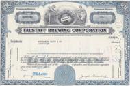 Falstaff Brewing Corporation stock certificate - blue