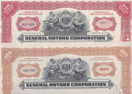 General Motors 1950s stock certificates set of 2 colors