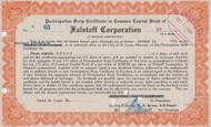 Falstaff Corporation Scrip 1934 certificate