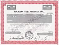 Florida West Airlines -specimen stock certificate