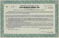 Latin American Airways, Inc warrant certificate 1948