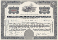 Kinner Airplane and Motor Corporation 1936 stock certificate