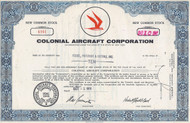 Colonial Aircraft Corporation 1968 stock certificate
