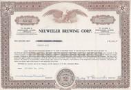 Neuweiler Brewing Corp stock certificate 1964