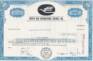 Puerto Rico International Airlines 1972 stock certificate