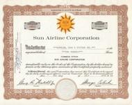 Sun Airline Corporation 1968 stock certificate