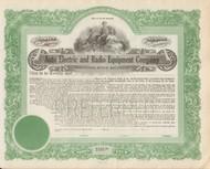 Auto Electric and Radio Equipment Company stock certificate circa 1920