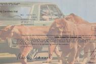 Lion Country Safari stock cert close-up of lion vignette