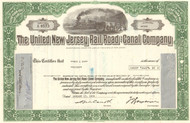 United New Jersey Rail Road and Canal Company 1970's stock certificate - green