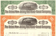 United New Jersey Rail Road and Canal Company 1970's stock certificate - set of 2
