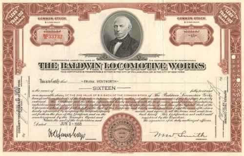 Baldwin Locomotive Works stock certificate - brown