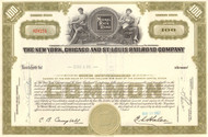 New York, Chicago, and St Louis Railroad - Nickel Plate Road stock certificate - olive