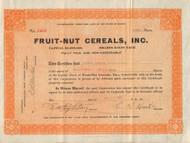 Fruit-Nut Cereals, Inc. 1922 stock certificate