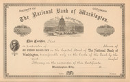 National Bank of Washington 1900's stock certificate