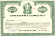 Eaton and Howard Balanced Fund 1969 stock certificate