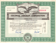 Colonial Aircraft Corporation 1962 stock certificate