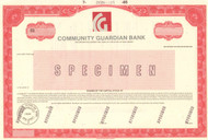 Community Guardian Bank - specimen (printed/stamped) stock certificate