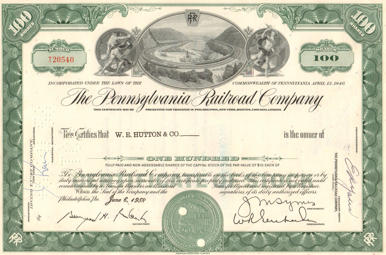 Monopoly Railroad Stock Certificate Set Real Certs