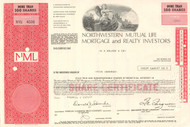 Northwestern Mutual Life Mortgage and Realty Investors stock certificate 1971
