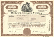 Reliance Insurance Company stock certificate 1978
