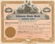 Citizens State Bank (Monona, Iowa) stock certificate circa 1912