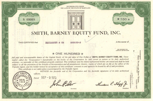 Smith Barney Equity Fund stock certificate 1970