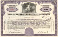 Scranton Electric Company stock certificate - purple