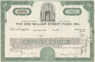 One William Street Fund 1960's stock certificate - green