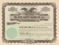 Tri-Plex Safety Razor Co. stock certificate circa 1922