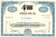 Ramada Inns Inc. specimen stock certificate
