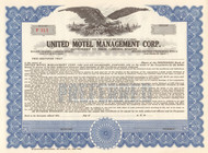 United Hotel Management stock certificate circa 1975