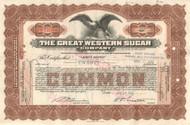 Great Western Sugar Company stock certificate 1936
