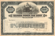 Illinois Power and Light stock certificate circa 1930