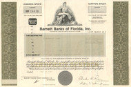 Barnett Banks of Florida stock certificate 1980's