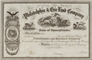 Philadelphia and Erie Land Company stock certificate circa 1860