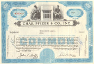 Chas. Pfizer & Co. stock certificate 1950's - blue