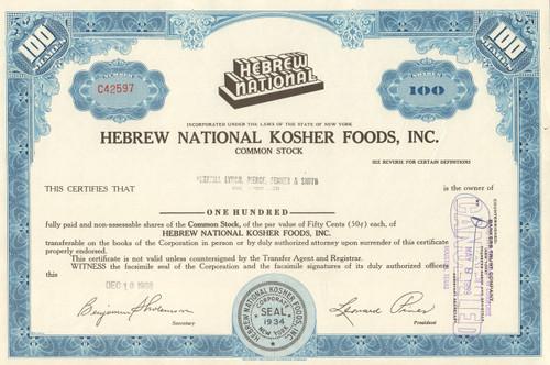 Hebrew National Kosher Foods stock certificate 1960's - blue