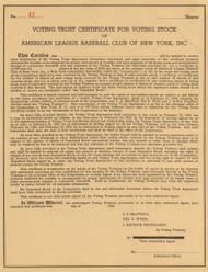 Voting Trust Certificate - New York Yankees 1945