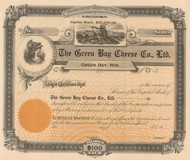Green Bay Cheese Co. Ltd stock certificate circa 1915 (Wisconsin) - real -  the ultimate cheese head gift