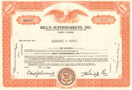 Hill's Supermarket stock certificate 1964