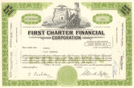 First Charter Financial Corporation stock certificate circa 1970's (S&L scandal) - green